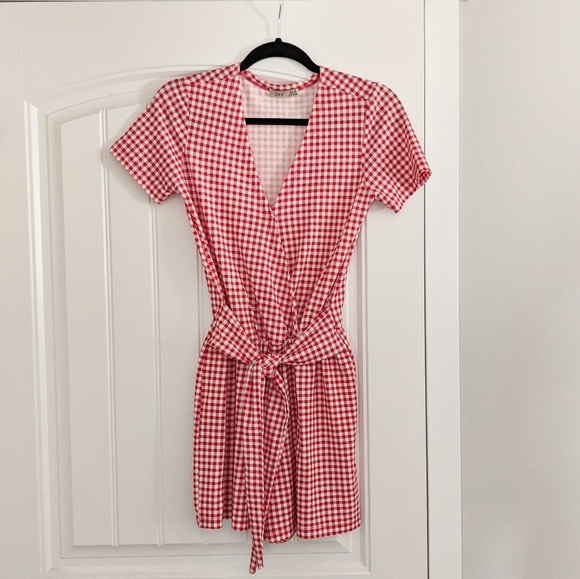 Dex Red and White Gingham Romper